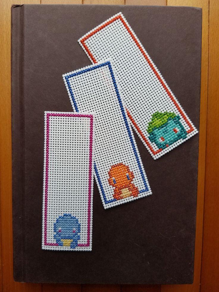 Cross Stitch Bookmarks - Pokemon - Gen 1 Starters by PupsnPixels on Etsy