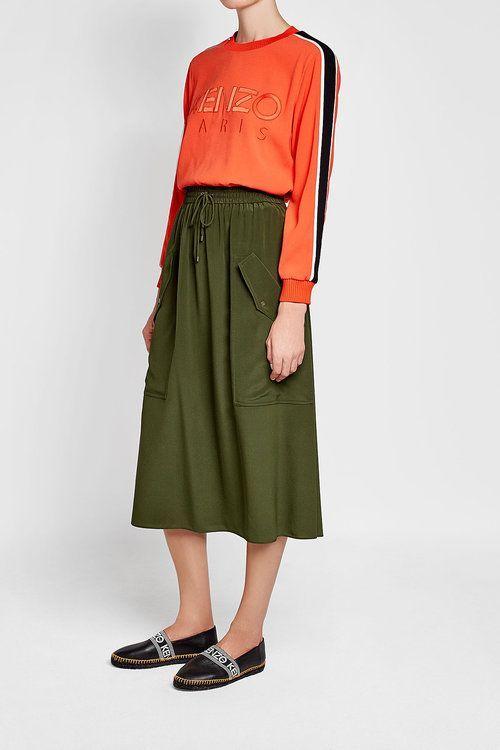 KENZO - Green Silk Skirt
