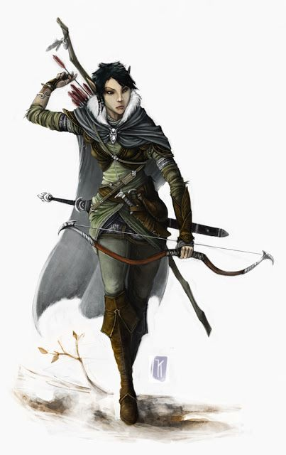 Gauren Lightfoot wood elf ranger archer fighter bow arrow armor clothes clothing fashion player character npc | Create your own roleplaying game material w/ RPG Bard: www.rpgbard.com | Writing inspiration for Dungeons and Dragons DND D&D Pathfinder PFRPG Warhammer 40k Star Wars Shadowrun Call of Cthulhu Lord of the Rings LoTR + d20 fantasy science fiction scifi horror design | Not Trusty Sword art: click artwork for source