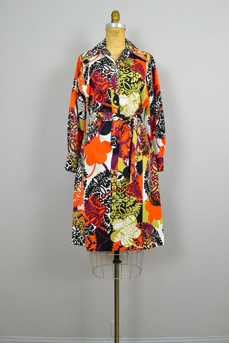 1960s Dress / 60s LANVIN Designer Shirtdress / Graphic Print / Mod Dress.