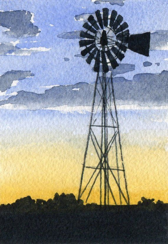 WINDMILL Watercolor Signed Fine Art Print by Artist DJ Rogers on Etsy, $9.50