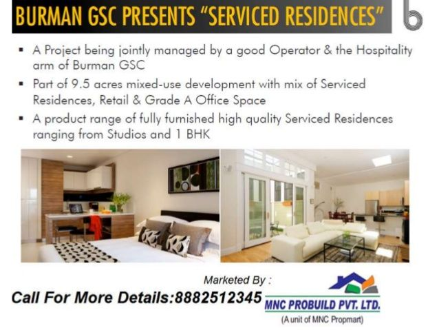 Burman GSC Presents Serviced Residences ,fully furnished 1 BHK  by Mnc Propmart via slideshare