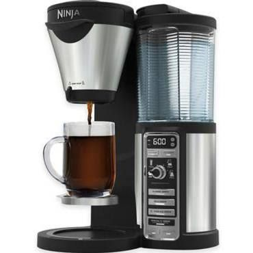 Ninja Coffee Bar Brewer CF082 with 43 oz. Glass Carafe with Stainless, Black/silver 8 Cup