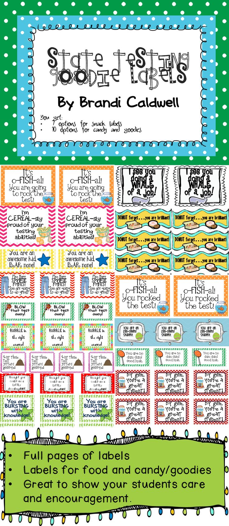 Testing quotes for elementary students - State Testing Goodie Labels