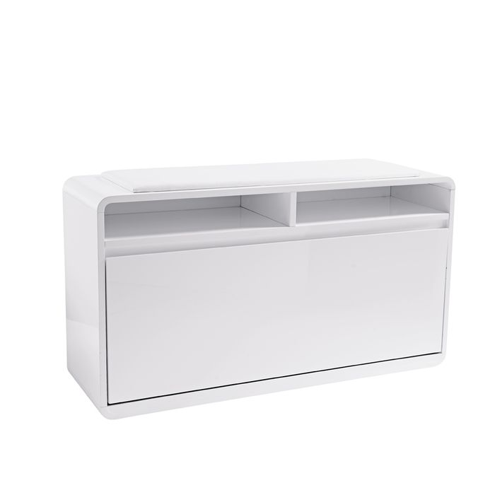 Zapato shoe cupboard with seat white