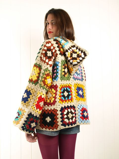 crochet granny square hooded wool jacket cardigan coat free pattern. Collection of granny square clothes here.:
