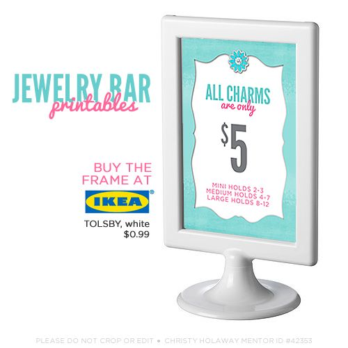FREE Jewelry Bar Printables - Download and print these cute and informative jewelry bar display signs for your table.