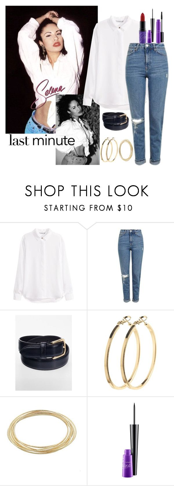 """Last Minute Costume: Selena Quintanilla"" by ohsnapitzblanca ❤ liked on Polyvore featuring H&M, Topshop, American Apparel, Pieces, LC Lauren Conrad, MAC Cosmetics, Halloween, selena, LastMinute and selenaquintanilla"