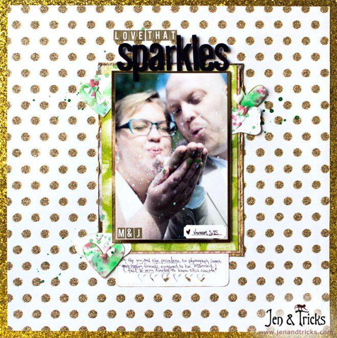 12X12 scrapbook layout by jenandtricks, using golden polka dot paper