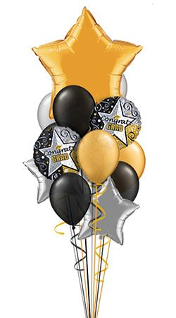 Gold Grad I Balloon Bouquet (15 Balloons w/11in Latex)