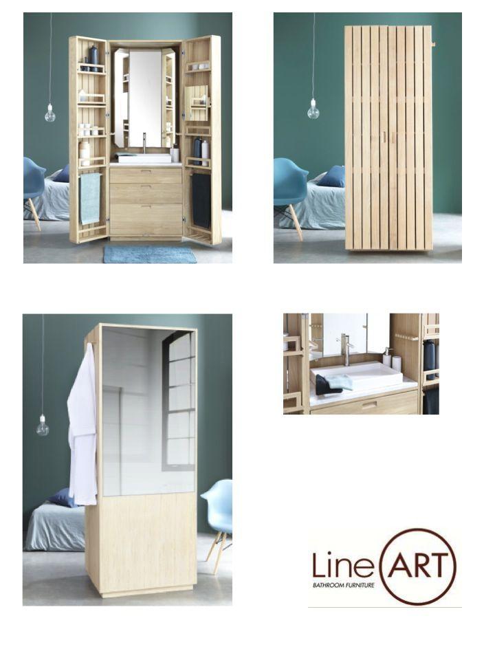 La cabine de Line art c'est la salle de bain Nomade. chêne massif. Idéal pour les petits espaces ou en cloison...