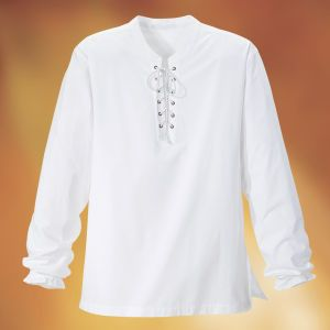 """Poet Shirt Exclusive! Hail, Poetry. Romance tailored this classic poet's shirt: cross-laced and grommetted in front, with side slits and full-length sleeves with elasticized cuffs. 100% cotton. Machine washable. Imported. Color: White. Unisex Sizes: M/L (40-44), L/XXL (46-50); 31""""-34"""" long. **** Poet Shirt Item #:P88427 Price:$59.95"""