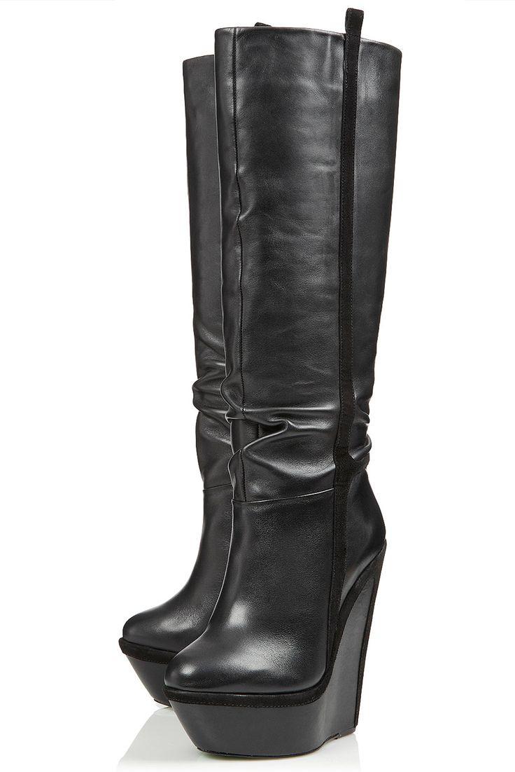 black knee high topshop wedge boots closet