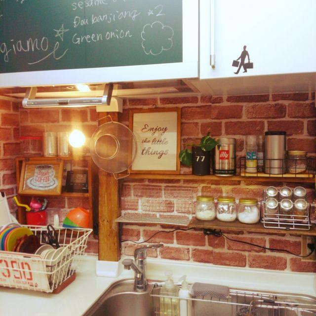 パカパカ扉/リメイクシート/DIY/ディアウォール/キッチンのインテリア実例 - 2015-10-25 18:28:02 | RoomClip(ルームクリップ)