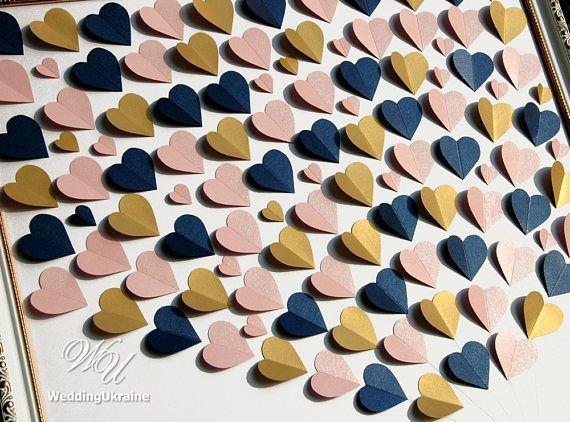 Wedding Guest Book Idea with Blush Gold & Navy blue hearts