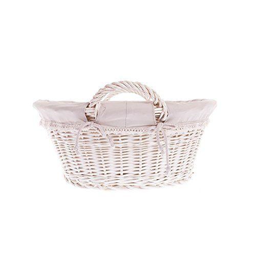 Ein handgeflochtener Wäschekorb aus Weide mit Stoffeinsatz - Dieser Weidenkorb kann sowohl für Wäsche als auch für die Aufbewahrung oder den Transport vo...