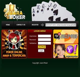 juarapoker.com tempat atau penyedia permainan texas poker secara real money, minimal deposit Rp. 25.000,- Support BCA, BNI dan Bank Mandiri. http://gayahidup-online.blogspot.com/2013/03/juarapokercom.html