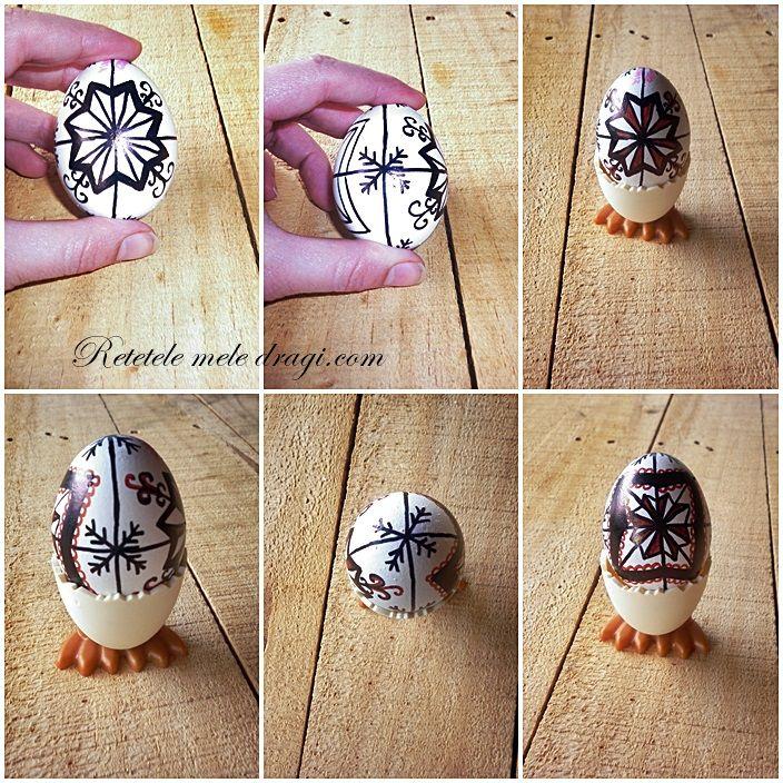 how to paint eggs for Easter, using permanent markers http://www.retetelemeledragi.com/2014/04/cum-pictam-ouale-de-paste-in-stil-modern.html/