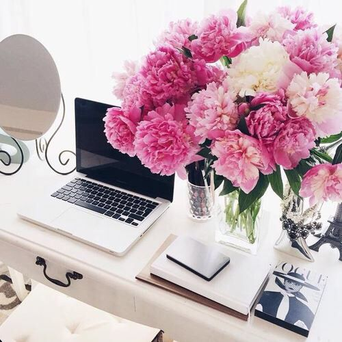 Office inspiration, desk inspiration, office decor, pink flowers, MacBook