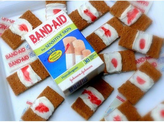 bloody band aid cookies halloween finger foodshalloween - Gory Halloween Food Ideas