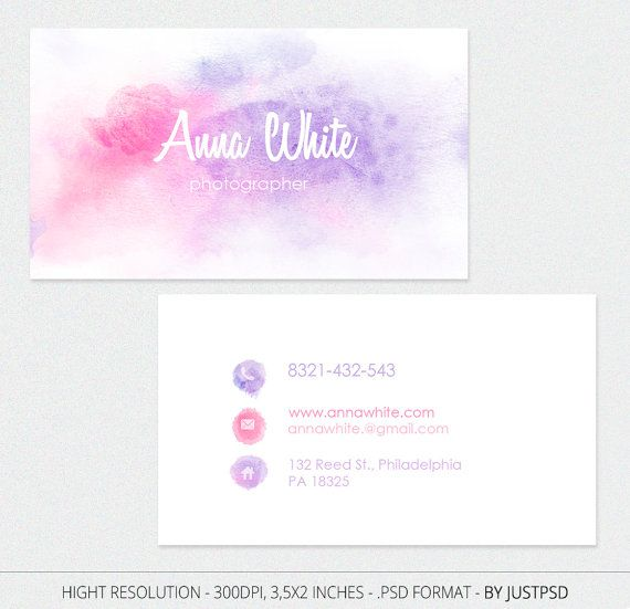Gratis personalizar acuarela tarjeta de visita para el por JustPSD