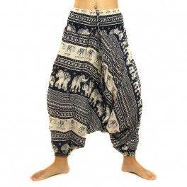 Haremshose Jumpsuit dunkelblau rayon, orientalischer Druck mit Elefanten