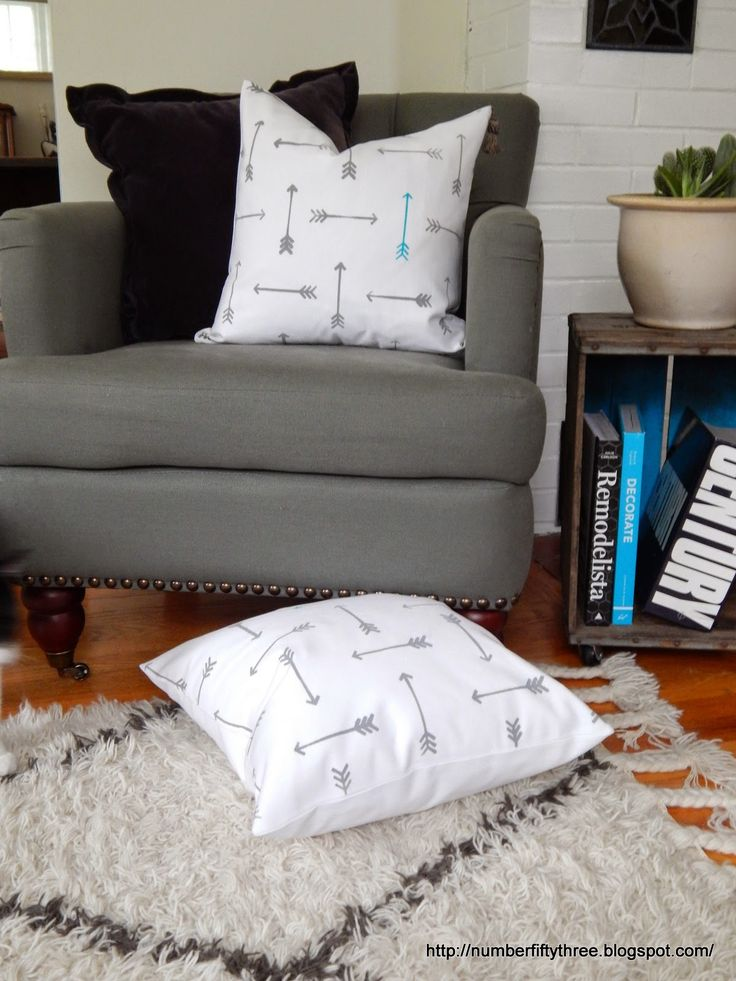 Number Fifty-Three: Stenciled Arrow Pillows (Paint A Pillow Review)