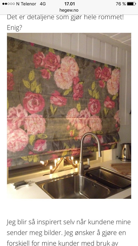 Spesialdesignet liftgardin. Designers Guild. Interiørdesign og fargekonsulent   Leverandør: www.hegew.no Kreativ Designer: Hege Wølner