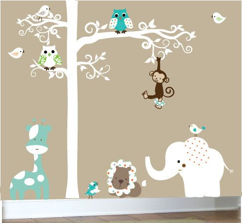 Nursery wall decal - Jungle decal set.  via Etsy.