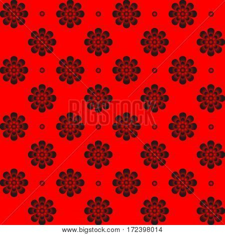 Monochrome pattern symmetrical flower on red background. Radial designs for decoration or wall paper.