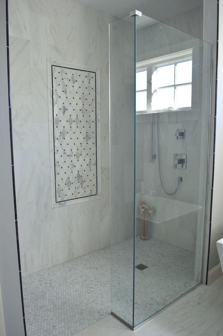 Elegant Master Bath Tile Inset Marble White Tile Hexagon Tile