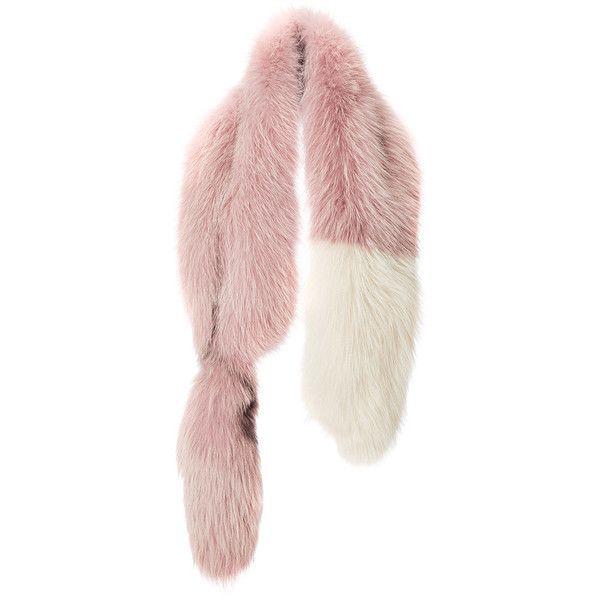Marni Powder Rose Fox Fur Stole (258.895 RUB) ❤ liked on Polyvore featuring accessories, scarves, fox fur stole, marni and fox fur shawl
