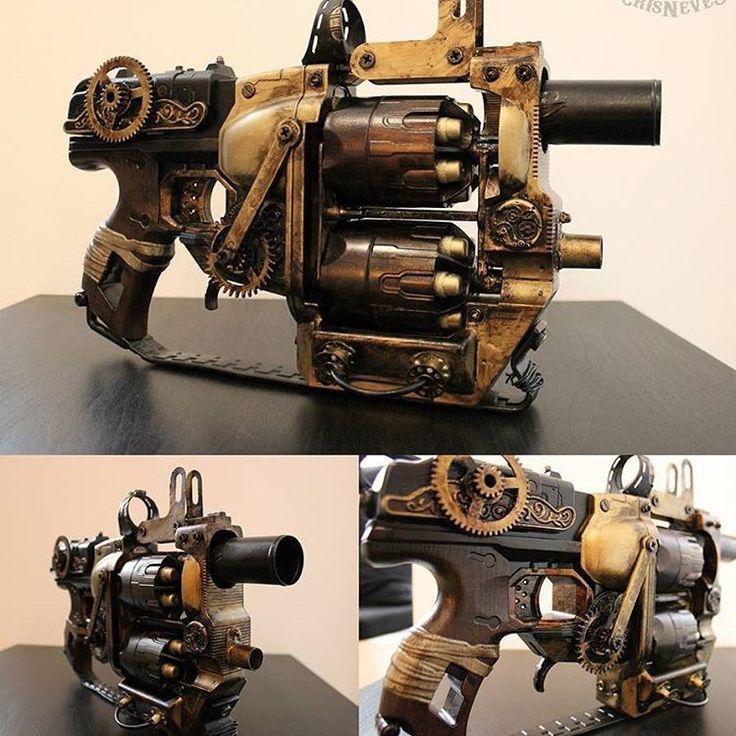 """""""""""Flip Redeemer"""" #steampunktendencies #steampunk #gun #steampunkgun #nerf #diy…"""