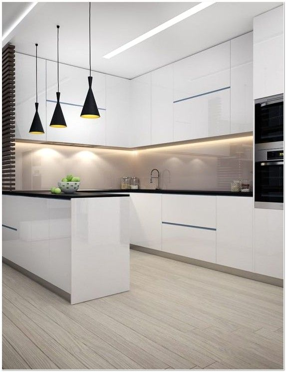Very Beautiful White Kitchen Design Cabinets And Black Top Tables On The Main And Islan Scandinavian Kitchen Design Dream Kitchens Design Luxury Kitchen Design