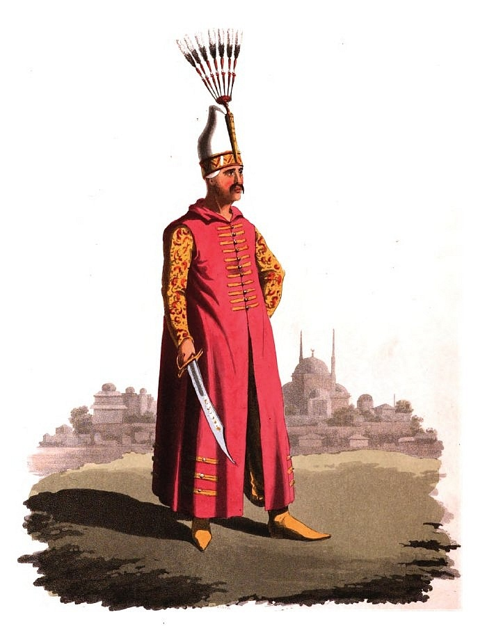 Ottoman Janissary officer,  a subaltern officer. The rank of the different officers in the Turkish armies are distinguished from each other by the form of their turban, or bonnets.