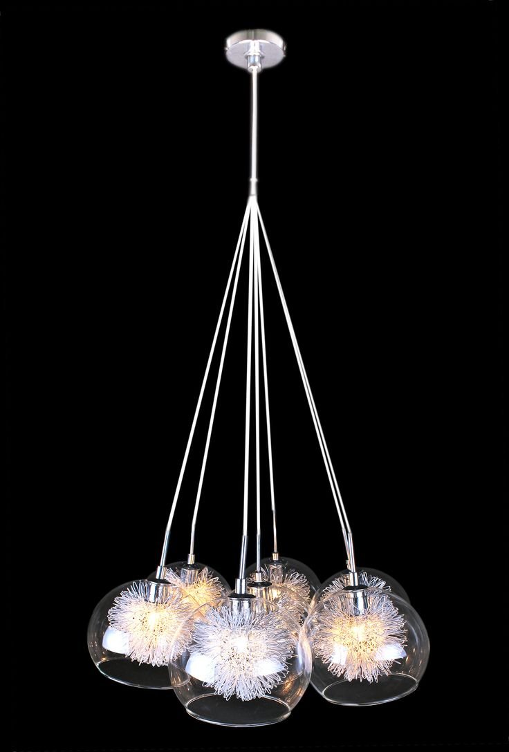 Features 7 Light Pendant  Code: 04996 - ITALUX - Clear Glass 04998 - ITALUX - Grey/Chrome Glass 04997 - ITALUX - Red Glass  Dimensions Glass Glass Shade 150mm Aluminium Feature Insert 2m Adjustable wire drop  Globe 240V G9 40W (not included