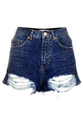 MOTO Ripped High Waisted Shorts