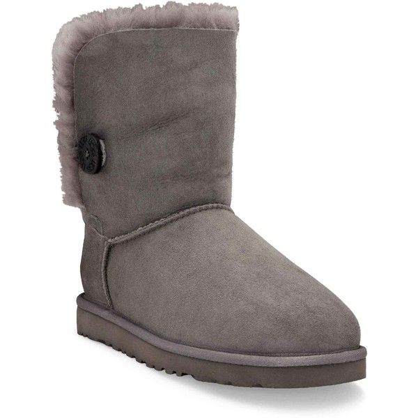 UGG Women's Bailey Button Grey Boots ($130) ❤ liked on Polyvore featuring shoes, boots, ankle booties, ankle boots, grey, short boots, grey boots, short ankle boots and grey booties