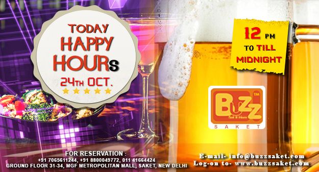 Monday Happiness !! Someday's you just need a drink! On your odd days,Make it a good one with Happy Hour at Buzz Saket buy one get one drinks free from 12pm to till Midnight...We'll see you for a cocktail...Cheers!  #Monday #happyhours #Drinks #Dance #Food #bogo #Booze #Offer #Delhi #Bar #Club #Beer #Enjoy #Buzzsaket