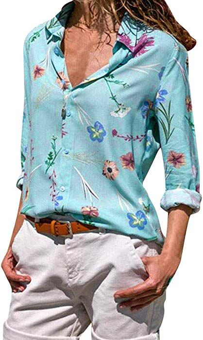 7baddc723355 vermers Women Fashion Printed Button Down Shirt Casual Long Sleeve Lapel Tops  Blouse Clothes(S