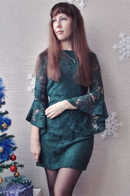 ef98819410 SHEIN Green Going Out Round Neck Flounce Sleeve Guipure Lace Sheer Zipper  Slim Bodycon Dress