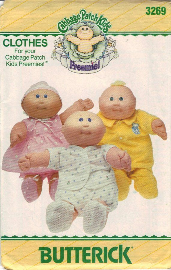 Free Printable Doll Clothes Patterns | Cabbage Patch Kids Preemies Doll Clothes Pattern by crittercountry