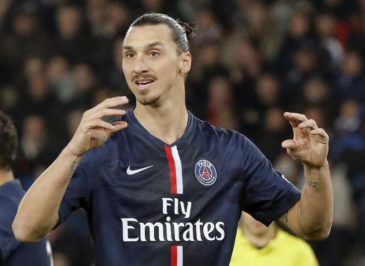 Zlatan Ibrahimovic gestures during their French League One soccer match match between Paris Saint Germain and Marseille at Parc des Princes stadium in Paris, France, Sunday, Nov. 9, 2014. (AP Photo/Francois Mori)