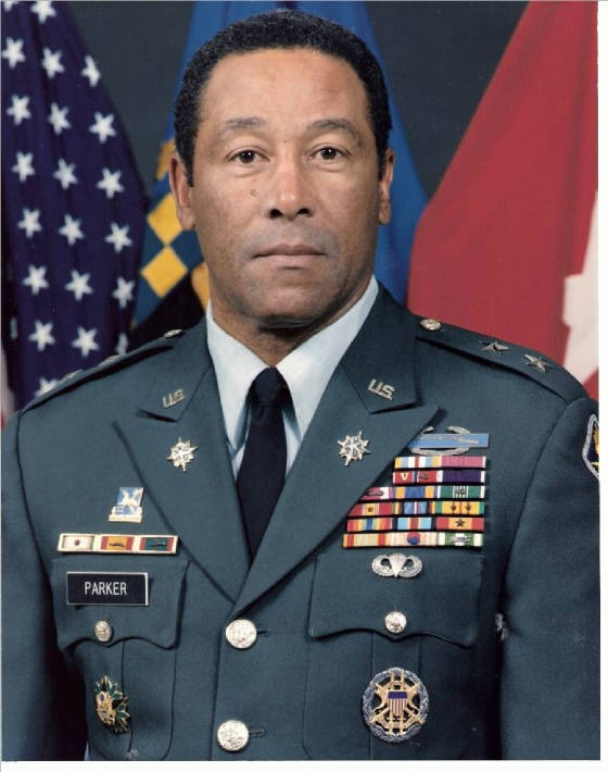 General Parker was, and remains the highest ranking African American Military Intelligence Officer in the history of the Army.  He is one of 3 African Americans in the Military Intelligence Branch to attain the rank of general officer.  He was born in New Braunfels, Texas.  Upon completion of the Reserve Officers Training Corps curriculum and the educational course of study at Prairie View A University in 1955, he was commissioned a second lieutenant of Infantry Chemistry.