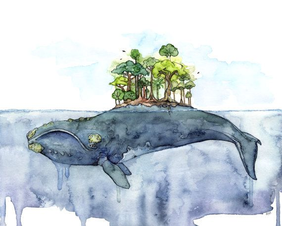 "Whale Painting, Watercolor Painting, Whale Island, Whale Art, Beach Decor, Nautical Art, Print, Whale Nursery,Print titled,""Bottomless Blue"""