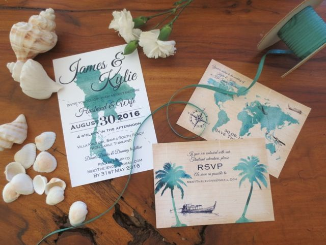 For the Kylie and James wedding invitations design, I went with the map of Thailand to continue on from their world map save the dates.