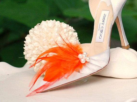 Bride Shoe Clips Orange Tangerine & Ivory Pearls / por sofisticata