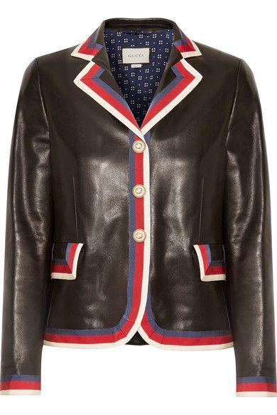 Gucci - Grosgrain-trimmed Appliquéd Leather Blazer - Black - IT38