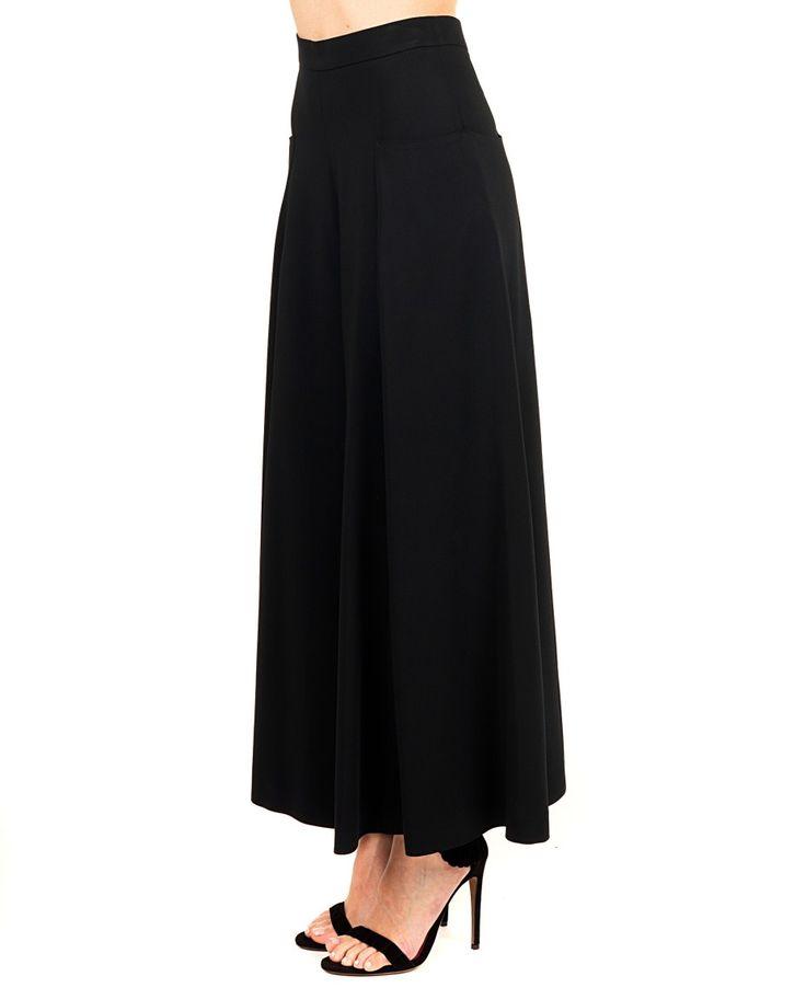 ANTONIO MARRAS Black pantskirt high waist  wide legs two side pockets back zipper closure 96% VI 4% EA