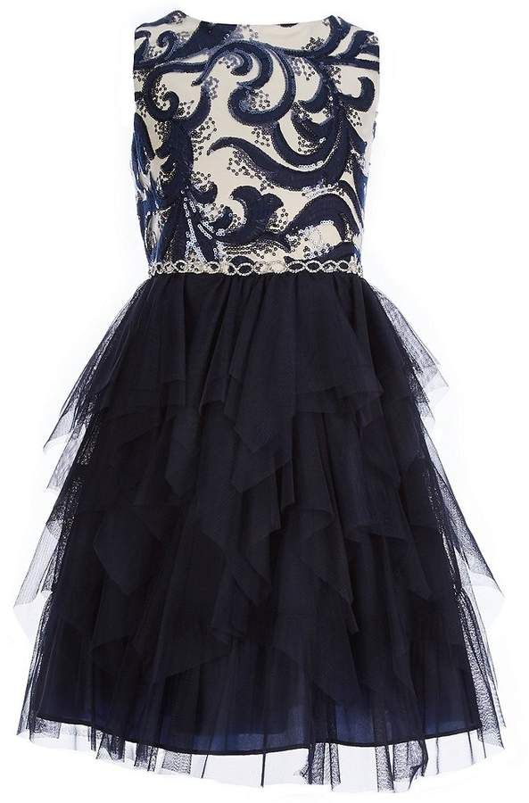 38eaba0dd1890 Big Girls 7-16 Embroidered Sequin Hanky-Hem Dress #zip#sleeveless#neckline
